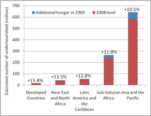 Estimated increase in hunger by region, 2008-2009. Source: FAO.