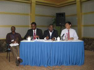 Panelists included (from l to r): Joseph Karugia, ReSAKSS-ECA; Pius Chilonda, ReSAKSS-SA; Babatunde Omilola, ReSAKSS-Africa Wide and Shenggen Fan, IFPRI